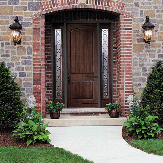 Architect Series Plank 2 Panel Arch Entry Door Solid Panel